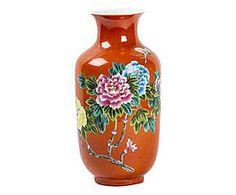 Vaso in porcellana arancione - 32x15 cm