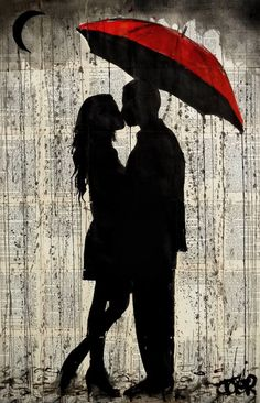 'rainy day love' Photographic Print by Loui Jover - Ink Painting Romantic Art, Art Painting, Love Drawings, Painting, Silhouette Art, Loui Jover Art, Umbrella Art, Canvas Painting, Saatchi Art