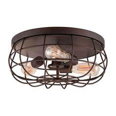 Kimball Textured Bronze 1 Light Ceiling Mount Industrial Light Design House Semi Flush Flu
