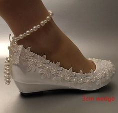 Lace white ivory crystal Wedding shoes Bride flats low high heel wedge size Source by shoes flats Diy Wedding Shoes, Wedge Wedding Shoes, Wedding Boots, Wedding Heels, Lace Wedding, Wedding Wedges, Ribbon Wedding, Wedding Music, Green Wedding