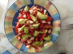 Salade tomate poivron avocat gobege onion citron