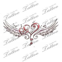 Marketplace Tattoo winged hearts #6257 | CreateMyTattoo.com