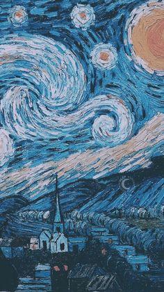 Vincent Van Gogh The Starry Night Wallpaper. Van Gogh Wallpaper, Wallpaper World, Painting Wallpaper, Wallpaper Backgrounds, Painting Art, Phone Backgrounds, Artistic Wallpaper, Summer Backgrounds, Galaxy Wallpaper