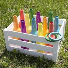 Recycled Bottle Ring Toss Backyard Game — Take the fun and games outside this summer. Recycled Bottle Ring Toss Backyard Game — Take the fun and games outside this summer. Diy Outdoor Party, Backyard Party Games, Diy Yard Games, Backyard For Kids, Diy Games, Outdoor Parties, Diy For Kids, Diy Party, Ideas Party