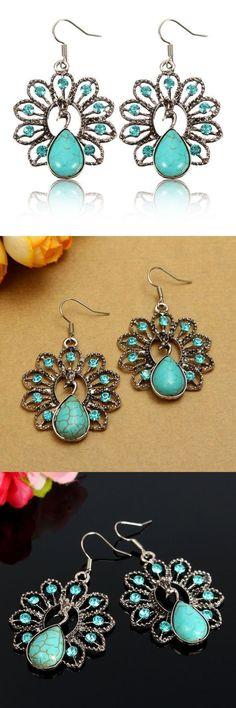 Retro turquoise rhinestone peacock satement drop earrings for women letter z earrings #1 #mm #earrings #earrings #keep #falling #out #earrings #vel #oroton #o #earrings