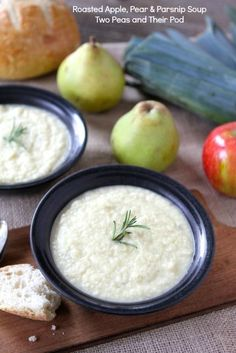 Roasted Apple, Pear & Parsnip Soup from www.twopeasandtheirpod.com