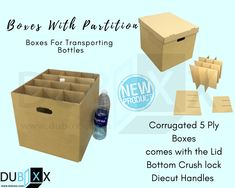 Buy Empty boxes with the partitions inside these boxes are made from heavy-duty corrugated material which will keep them strong and steady, these boxes also come with die-cut handles on the sides to easily carry them. Buy Boxes, Moving Boxes, Bottle Box, Shipping Boxes, Box Cake, Recipe Box, New Product, Empty, Handle