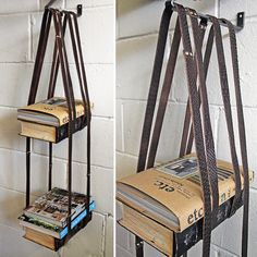 book hanger made out of belts. This one is for you college kids!