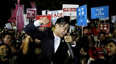 'War is over!' Scuffles in Tokyo as anti-military protesters rally against Abe policy http://sumo.ly/88oI  Aki Okuda, founding member of the protest group Students Emergency Action for Liberal Democracy (SEALDs), shouts slogans during a rally against Japan's Prime Minister Shinzo Abe's security bill and his administration in front of the parliament in Tokyo, Japan, September 15, 2015. © Yuya Shino