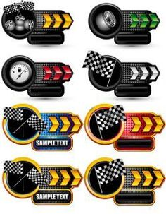 精美赛车主题标签矢量素材 #采集大赛#