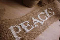 """Cross-stitched Burlap Banner - NEEDLEWORK - I would like one that says """"Create"""" for my craft room"""