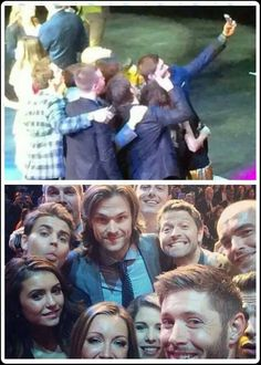 OMG Jensen took the selfie and I spy John Barrowman <--the cast of Supernatural, Arrow, and The Vampire Diaries