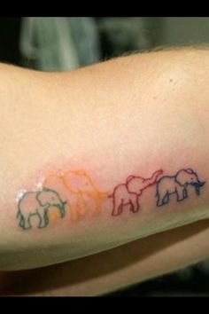 Elephant tattoo -representing a family. Um but put the trunks up PLESE... Trunks down means bad luck...