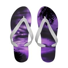 Purple Sunrise Sky Flip Flops