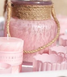 Pink glass jar with twine picture only