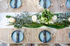 San Clemente Reveal | Part Two - Blackband Design Dinner party styling- fresh greenery, West Elm gold rimmed plates, West Elm brass silverware. Table styling inspiration. Table setup. Gold accents