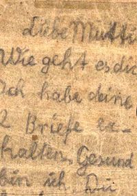 A letter sent by Siegfried Rapaport to his mother when they were in the Stutthof concentration camp. The childish handwriting on the aging paper reveals a boy who misses his family but also tries to offer them some comfort, a boy who - amidst the horror of a concentration camp - takes on the role both of breadwinner and supporter, mature way before his time.