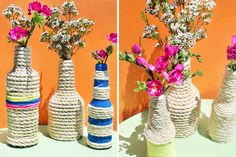 Make These Rope Bottle Vases in Under 10 Minutes!   Brit + Co.