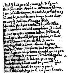 an overview of the poem to his coy mistress by andrew marvell To his coy mistress as a metaphysical poem metaphysical poetry flourished in the 17th century and it was brought to perfection by john donne and his disciple, andrew marvell marvell, in particular, attempted to combine levity with seriousness in english poetry.