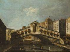 View of the Rialto Bridge, Venice - Canaletto (Venitian, 1697-1768 ) Baroque