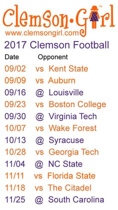 Clemson Athletics announced the 2016 Clemson football schedule today. including a Friday night game vs. Clemson Football Schedule, Football Sites, Clemson Memes, College Football, Clemson Athletics, Tiger Girl, Clemson Tigers, Auburn Tigers, Down South