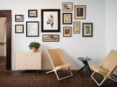 Herman Miller Collection at the Carondelet House in downtown Los Angeles. // Sitting area, exposed brick floor, wall art.