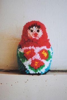0ed11501e06 Babushka Pom Pom. Cute! From a Japanse craft book  How To Make Pom