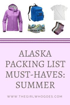 Packing Must-Haves for Alaska (Summer) - The Girl Who Goes - - Wondering what to pack for your trip to Alaska this summer? I had the same question - and now I have the answer. Check out my list of packing must-haves. Packing For Alaska, Alaska Cruise Tips, Packing List For Cruise, Alaska Travel, Alaska Trip, Cruise Vacation, Vacations, Cruise Travel, Packing Tips