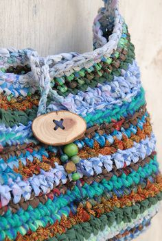 Large rustic crochet tote Turquoise and blue Fabric crocheted rag bag with wooden beads and button