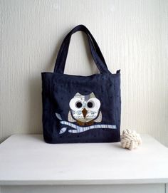 Tote bagowl aplique navy blue linen by CheriDemeter on Etsy, $52.00