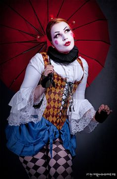 Harlequin by MeliWallisdottir on DeviantArt - Clown Schminke Dark Circus, Circus Art, Circus Clown, Pantomime, Ricardo Iii, Alaaf You, Mode Harajuku, Steampunk Circus, Circus Fashion