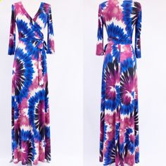 Tie Dye Maxi Dress Stunning tie dye print full length maxi dress features a mock wrap, v-neckline, belt tie and 3/4 sleeves. Sizes: Small, Medium, Large.     Comment below with your size and I will create a separate listing for you to purchase. Dresses Maxi