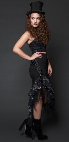 Womens - Skirts - Pencil Ruffle Skirt $139.00  #steampunk #ringmaster #circus #sideshow #victorian #neovictorian #lace #ruffle #pencilskirt #birdprint #menagerie