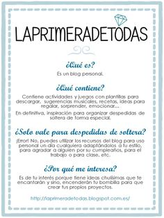 De qué va el blog Laprimeradetodas: inspiración para despedidas de soltera.  laprimeradetodas.blogspot.com.es