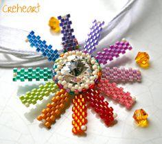Rainbow Flower - Handmade Swarovski Crystal Pendant  by Gianpiera Conti - Creheart  #beadwork