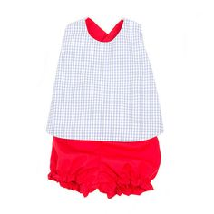 Blue Watercolor Windowpane with Richmond Red Ties & Bloomers Betsey Bow Back Set