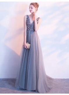 2018 Silber Abendkleider V-Ausschnitt bodenlang Perlenstickerei Strass Abendkleider # VB1105