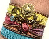 Earthy bohemian silk wrap bracelets and by BohemianEarthDesigns