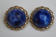 Vintage Marvella Blue clip on earrings by serendipitytreasure, $7.50
