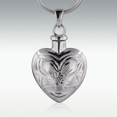 Tropical Flower Heart Sterling Silver Cremation Jewelry