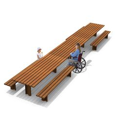 STREETLIFE Wooden Picnic Sets. Tables can be linked endlessly to become extra long and benches can be removed to create wheelchairs user sections. #StreetFurniture #PicnicTable #Wheelchair