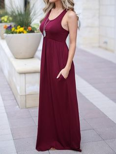 14a25a311fd YONYWA Womens Racerback Maxi Dress with Pocket Sleeveless U Neck Tank Dress  Ankle Length     Be sure to check out this awesome product. Women s Wear