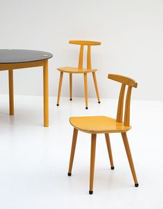 Anonymous; Lacquered Beech Side Chairs by FDB Møbler, 1950s.