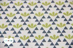 Stoff grafische Muster - KOKKA Stoff Triangle Blume✿Canvas GARDEN grau gelb - ein Designerstück von Villa-Stoff bei DaWanda