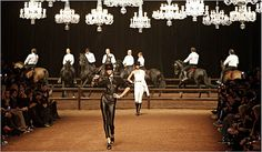 This is one fashion show I would want to be at!! Gaultier runway show with dressage horses