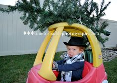 "Baby Christmas photo. Little man with his Christmas tree strapped to the car www.timetosparklephotography.com  For more ideas ""Like Us"" at https://www.facebook.com/pages/Time-to-Sparkle-Photography-LLC/215052625232087?ref=br_rs"
