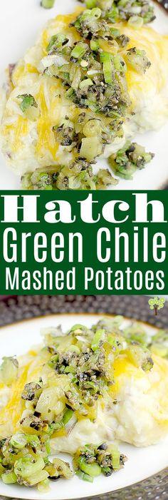 Hatch Green Chile Mashed Potatoes · Erica's Recipes Hatch Green Chili Recipe, Green Chili Recipes, Hatch Chili, Mexican Food Recipes, Mexican Dinners, Mashed Potato Recipes, Potato Dishes, Mashed Potatoes, Potato Rice