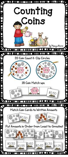 $2.50 These coin counting center activities will provide your students with practice counting coins with amounts up to $0.99. Students also match coin amounts with written amounts written with both cent sign and dollar sign and decimal point. Coin cards and cent amount cards can also be used to order coin amounts from least to greatest or greatest to least.