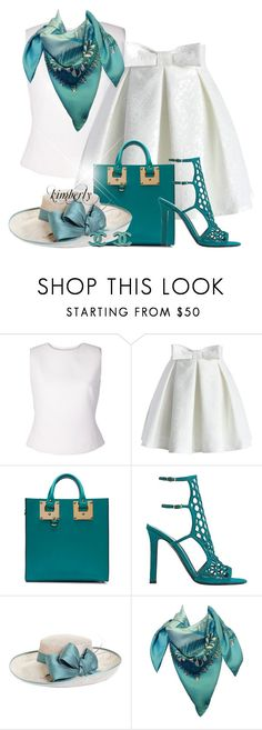 """""""Summer Teal"""" by cavell ❤ liked on Polyvore featuring Bouchra Jarrar, Chicwish, Sophie Hulme, Tamara Mellon, Brooks Brothers, Hermès and Chanel"""