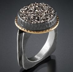 Oxidized silver, 18k gold, drusy - Ann Marie Cianciolo
